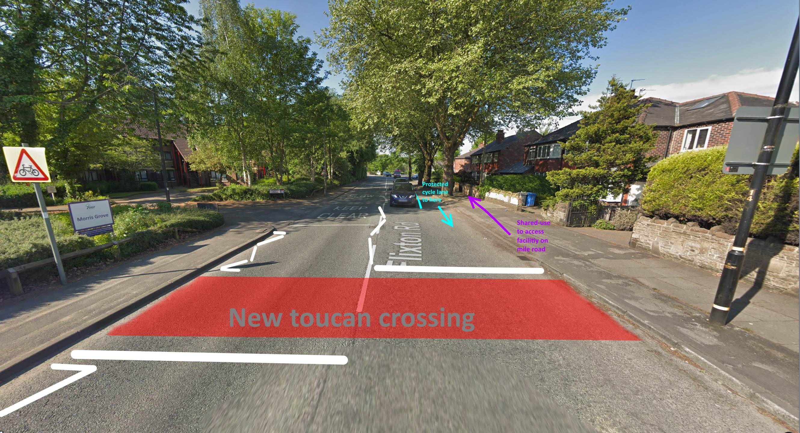 Flixton Road at Morris Grove – ideas for crossing, links to Mile Road cycling facility